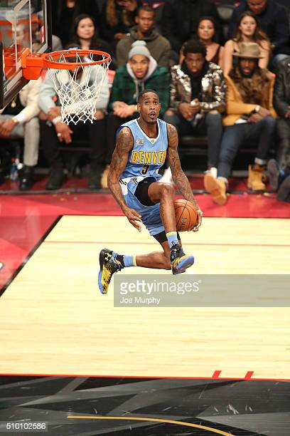 Will Barton of the Denver Nuggets dunks the ball during the Verizon Slam Dunk Contest as part of NBA AllStar 2016 on February 13 2016 at Air Canada...