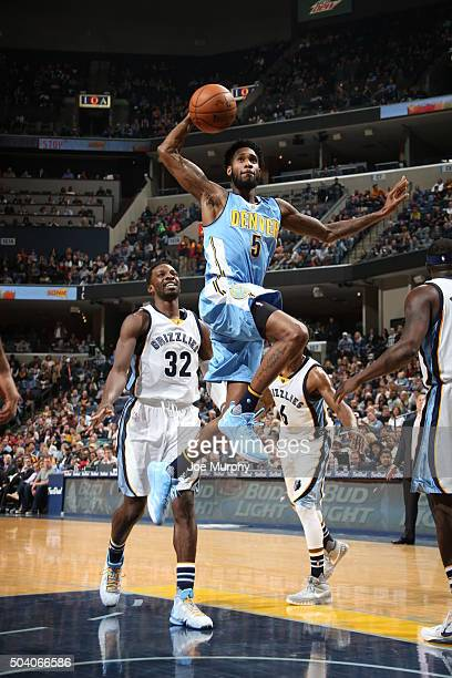 Will Barton of the Denver Nuggets goes up for a dunk against the Memphis Grizzlies on January 8 2016 at FedExForum in Memphis Tennessee NOTE TO USER...