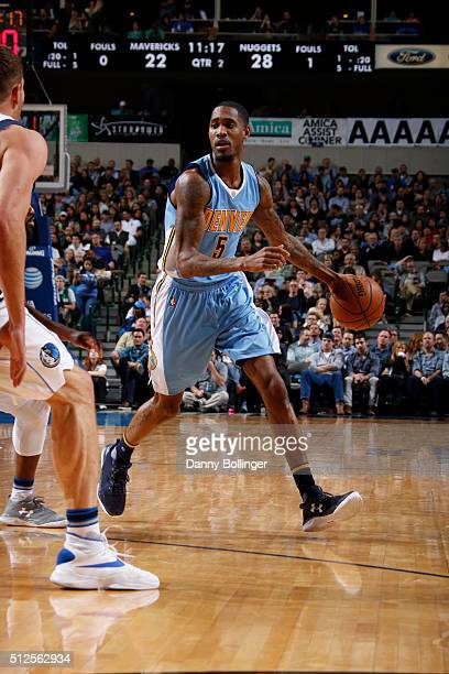 Will Barton of the Denver Nuggets handles the ball against the Dallas Mavericks on February 26 2016 at the American Airlines Center in Dallas Texas...