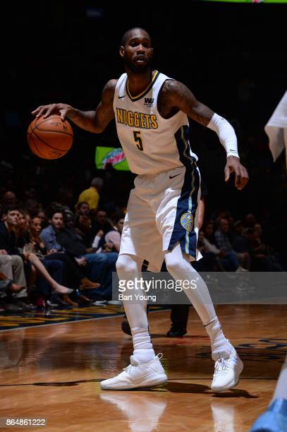 Will Barton of the Denver Nuggets handles the ball against the Sacramento Kings on October 21 2017 at the Pepsi Center in Denver Colorado NOTE TO...