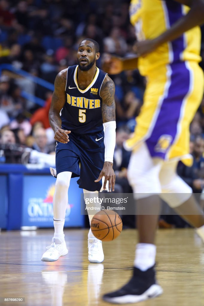 Will Barton #5 of the Denver Nuggets handles the ball against the Los Angeles Lakers on October 4, 2017 at Citizens Business Bank Arena in Los Angeles, California.