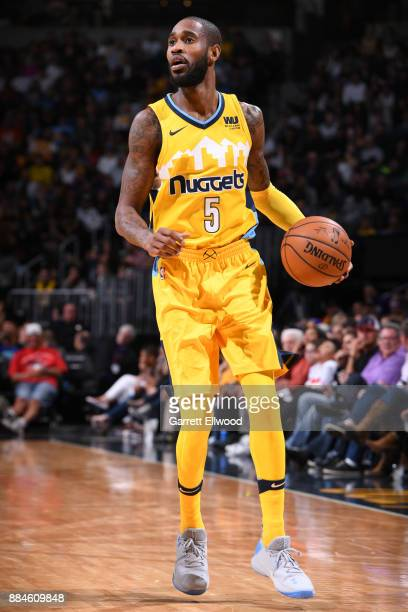 Will Barton of the Denver Nuggets handles the ball against the Los Angeles Lakers on December 2 2017 at the Pepsi Center in Denver Colorado NOTE TO...