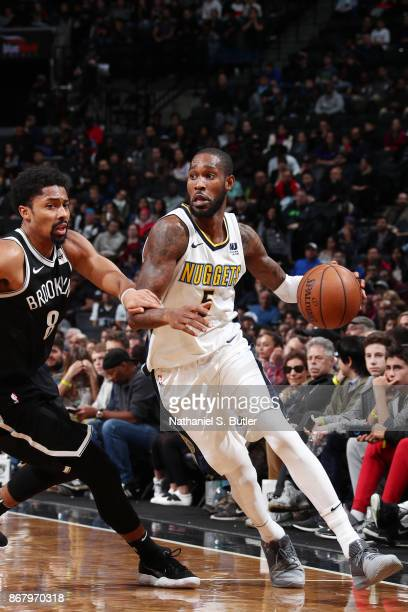 Will Barton of the Denver Nuggets handles the ball against the Brooklyn Nets on October 29 2017 at Barclays Center in Brooklyn New York NOTE TO USER...
