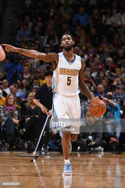 Will Barton of the Denver Nuggets handles the ball against the New Orleans Pelicans on March 26 2017 at the Pepsi Center in Denver Colorado NOTE TO...