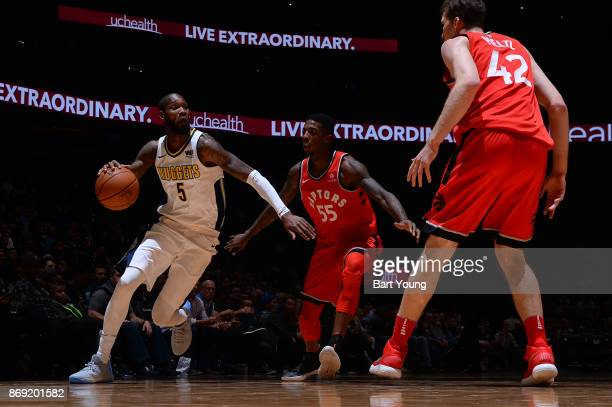 Will Barton of the Denver Nuggets handles the ball against the Toronto Raptors on November 1 2017 at the Pepsi Center in Denver Colorado NOTE TO USER...