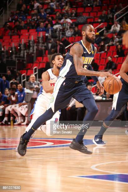 Will Barton of the Denver Nuggets handles the ball against the Detroit Pistons on December 12 2017 at Little Caesars Arena in Detroit Michigan NOTE...