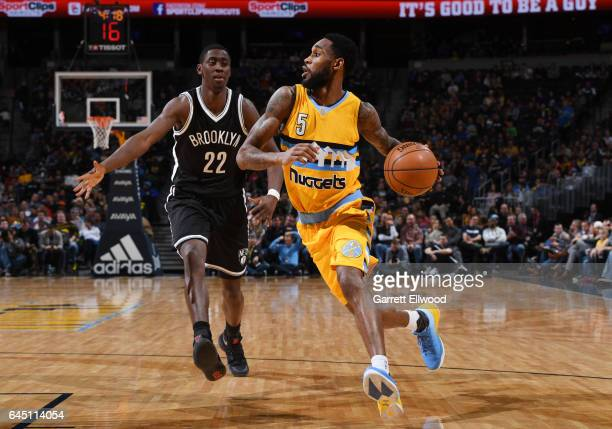 Will Barton of the Denver Nuggets handles the ball during a game against the Brooklyn Nets on February 24 2017 at the Pepsi Center in Denver Colorado...