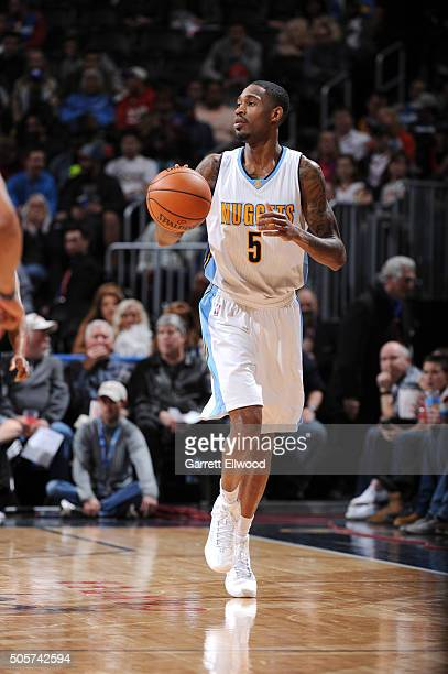 Will Barton of the Denver Nuggets handles the ball during the game against the Oklahoma City Thunder on January 19 2016 at the Pepsi Center in Denver...