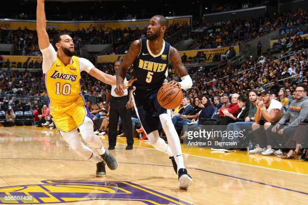 Will Barton of the Denver Nuggets handles the ball during the game against the Los Angeles Lakers during a preseason game on October 2 2017 at...