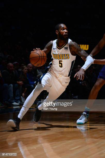 Will Barton of the Denver Nuggets handles the ball during the game against the Charlotte Hornets on February 5 2018 at the Pepsi Center in Denver...