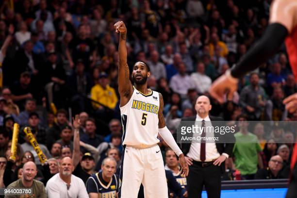 Will Barton of the Denver Nuggets holds his form after shooting a three pointer agains the Portland Trail Blazers during the second half of the...