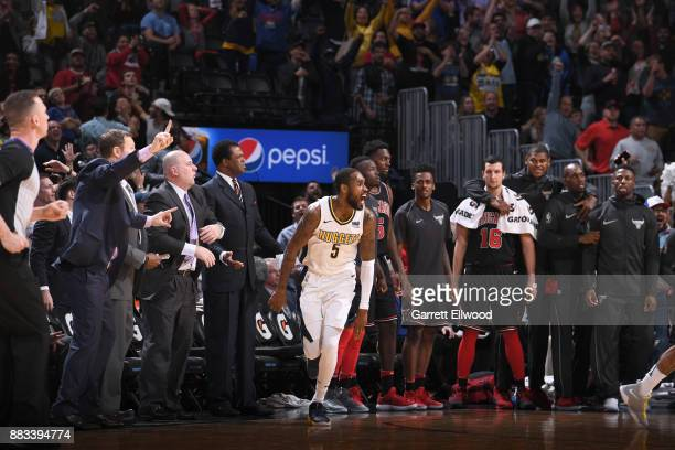 Will Barton of the Denver Nuggets reacts during the game against the Chicago Bulls on November 30 2017 at the Pepsi Center in Denver Colorado NOTE TO...