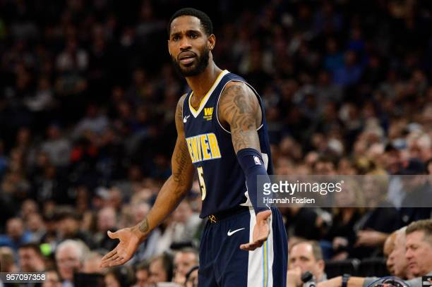 Will Barton of the Denver Nuggets reacts during the game against the Minnesota Timberwolves on April 11 2018 at the Target Center in Minneapolis...