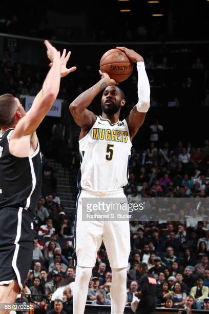 Will Barton of the Denver Nuggets shoots the ball against the Brooklyn Nets on October 29 2017 at Barclays Center in Brooklyn New York NOTE TO USER...
