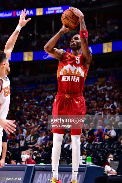 Will Barton of the Denver Nuggets shoots the ball against the Phoenix Suns during Round 2, Game 4 of the 2021 NBA Playoffs on June 13, 2021 at the...