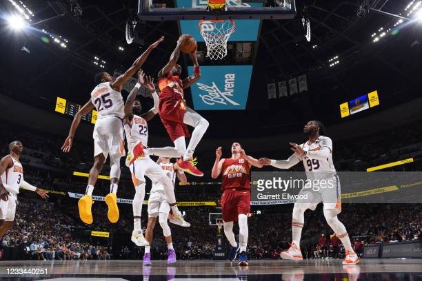 Will Barton of the Denver Nuggets shoots the ball during the game against the Phoenix Suns during Round 2, Game 4 of the 2021 NBA Playoffs on June...