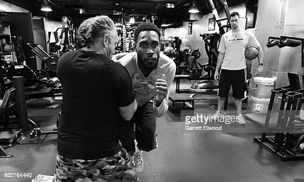 Will Barton of the Denver Nuggets works out with Steve Hess before the game against the Utah Jazz on January 24 2017 at the Pepsi Center in Denver...