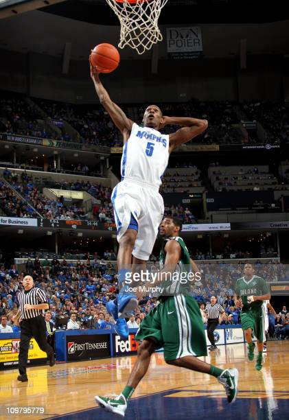 Will Barton of the Memphis Tigers goes up for a dunk against the Tulane Green Wave on March 5 2011 at FedExForum in Memphis Tennessee Memphis beat...
