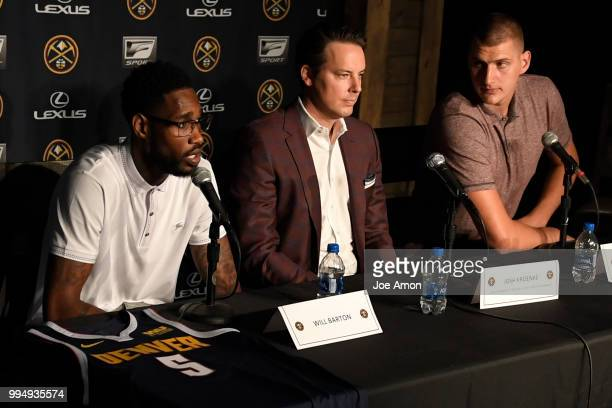 Will Barton speaks during a press conference for Josh Kroenke vice chairman of Kroenke Sports and Entertainment and the Nuggets announce new...