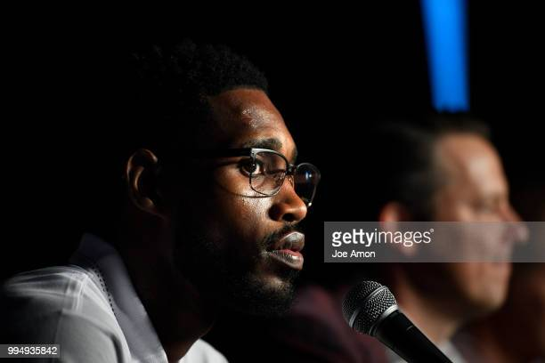 Will Barton speaks during a press conference for Josh Kroenke vice chairman of Kroenke Sports and Entertainment and the Nuggets to announce new...