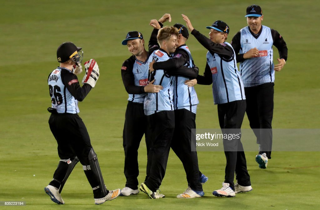 Will Beer of Sussex celebrates taking the wicket of Ashar Zaidi during the Sussex v Essex - NatWest T20 Blast (G) cricket match at the 1st Central County Ground on August 18, 2017 in Hove, England.