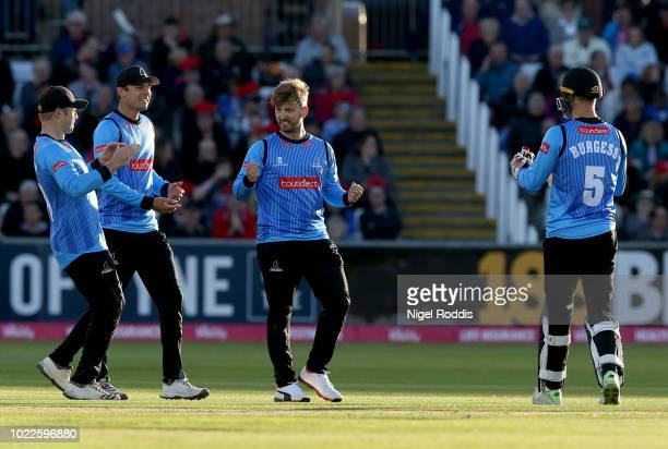 Will Beer of Sussex Sharks celebrates taking the wicket of Paul Collingwood of Durham Jets during the Vitality Blast QuarterFinal match between...