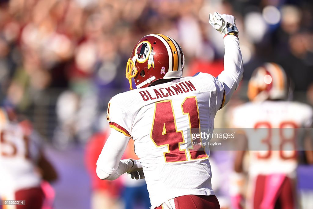 Will Blackmon #41 of the Washington Redskins celebrates a win after a football game against the Baltimore Ravens at M&T Bank Stadium on October 9, 2016 in Baltimore, Maryland.