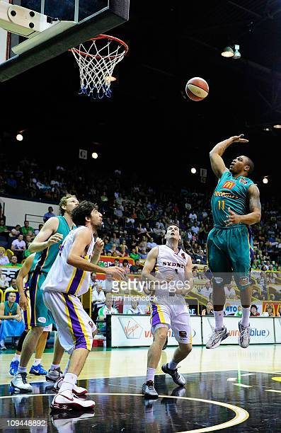 Will Blalock of the Crocodiles goes up for a jump shot during the round 20 NBL match between the Townsville Crocodiles and the Sydney Kings at...