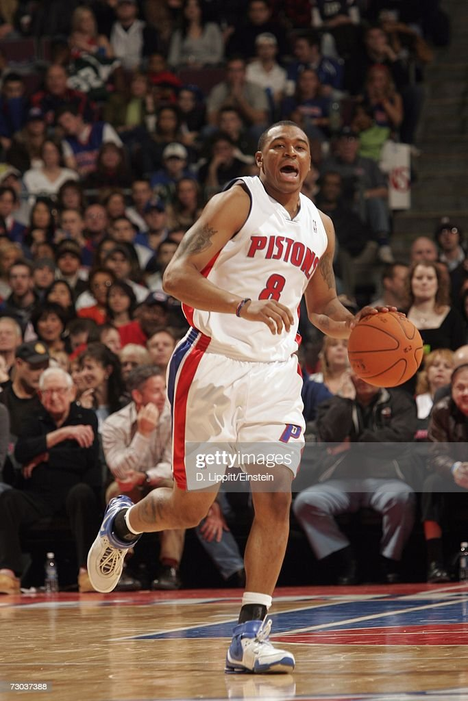 Will Blalock #8 of the Detroit Pistons moves the ball up court during a game against the Indiana Pacers at the Palace of Auburn Hills on December 29, 2006 in Auburn Hills, Michigan. The Pacers won 93-92.