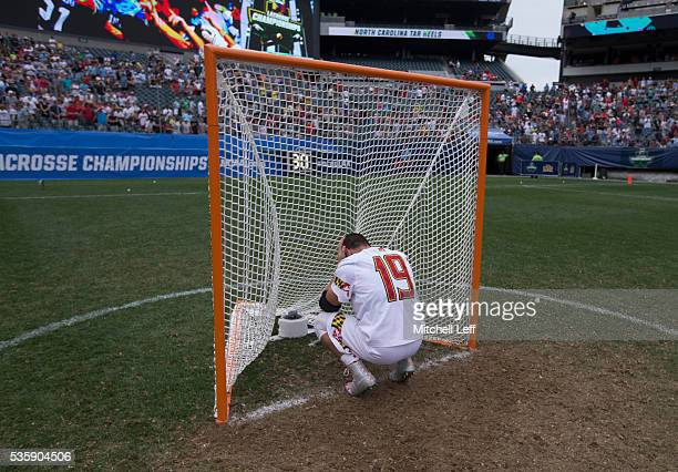 Will Bonaparte of the Maryland Terrapins reacts after the game against the North Carolina Tar Heels in the NCAA Division I Men's Lacrosse...