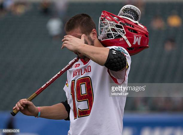 Will Bonaparte of the Maryland Terrapins walks off the field after the game against the North Carolina Tar Heels in the NCAA Division I Men's...