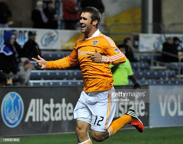 Will Bruin of Houston Dynamo celebrates his goal against the Chicago Fire in an MLS match on October 31 2012 at Toyota Park in Bridgeview Illinois