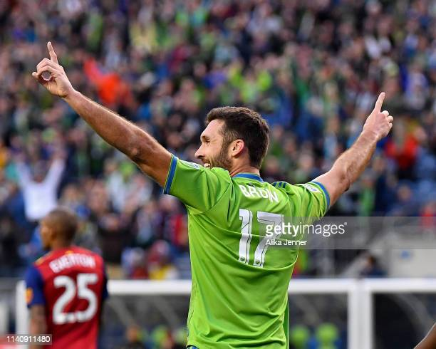 Will Bruin of Seattle Sounders celebrates a score against the Real Salt Lake in the first half at CenturyLink Field on April 06 2019 in Seattle...
