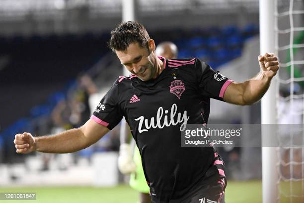 Will Bruin of Seattle Sounders celebrates after scoring a goal during a round of 16 match of the MLS is Back Tournament between Seattle Sounders and...