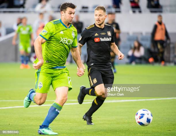Will Bruin of Seattle Sounders charges in on goal during Los Angeles FC's MLS match against Seattle Sounders at the Banc of California Stadium on...