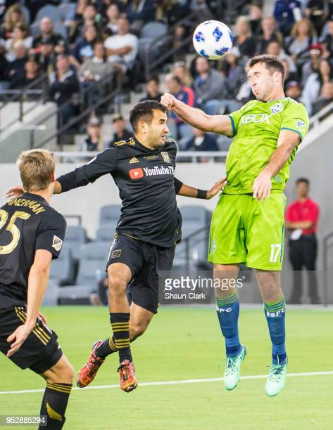 Will Bruin of Seattle Sounders heads the ball during Los Angeles FC's MLS match against Seattle Sounders at the Banc of California Stadium on April...