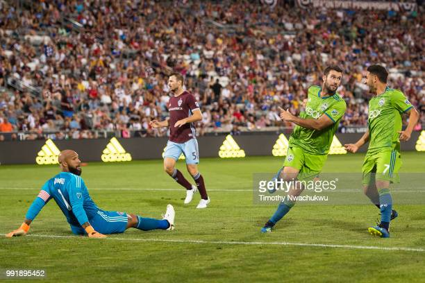 Will Bruin of Seattle Sounders reacts after scoring past Tim Howard of Colorado Rapids at Dick's Sporting Goods Park on July 4 2018 in Commerce City...