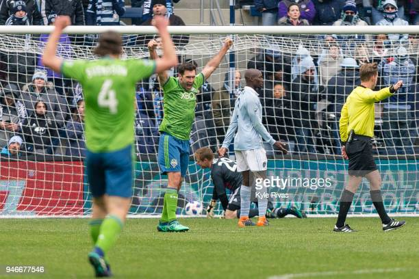 Will Bruin of Seattle Sounders reacts to the goal by Cristian Roldan of Seattle Sounders against Sporting Kansas City during the second half on April...