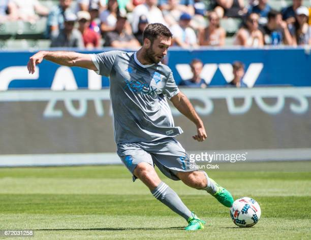 Will Bruin of Seattle Sounders takes a shot during Los Angeles Galaxy's MLS match against Seattle Sounders at the StubHub Center on April 23 2017 in...