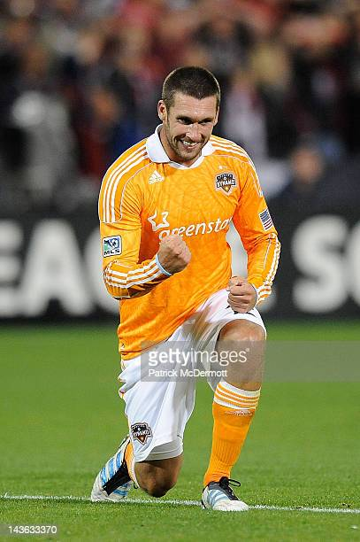 Will Bruin of the Houston Dynamo celebrates after scoring a goal against the DC United at RFK Stadium on April 28 2012 in Washington DC