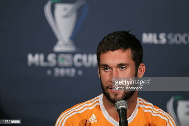 Will Bruin of the Houston Dynamo speaks at the 2012 MLS Cup Team Press Conference at The Home Depot Center on November 30 2012 in Carson California