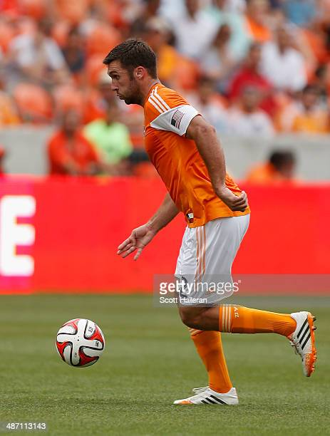 Will Bruin of the Houston Dynamo works the ball against the Portland Timbers during the second half of their game at BBVA Compass Stadium on April 27...