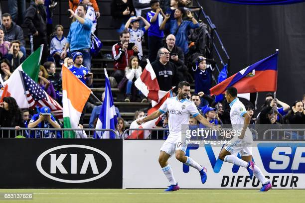 Will Bruin of the Seattle Sounders celebrates his goal late in the second half during the MLS game against the Montreal Impact at Olympic Stadium on...