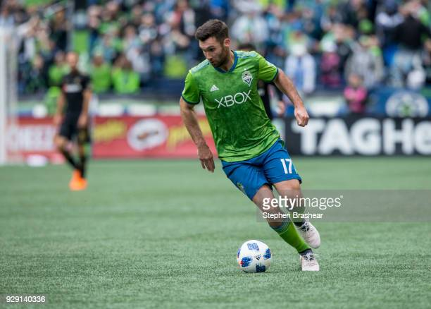 Will Bruin of the Seattle Sounders dribbles the ball during a match against Los Angeles FC at CenturyLink Field on March 4 2018 in Seattle Washington...