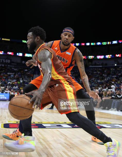 Will Bynum of Bivouac dribbles the ball as DerMarr Johnson of 3's Company guards during the BIG3 Playoffs at Smoothie King Center on August 25, 2019...
