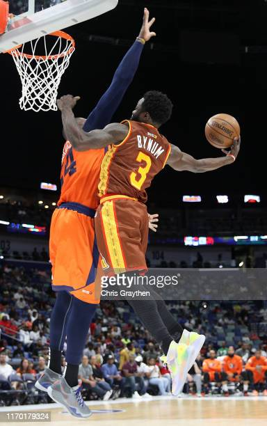 Will Bynum of Bivouac goes up for a dunk against Jason Maxiell of 3's Company during the BIG3 Playoffs at Smoothie King Center on August 25, 2019 in...