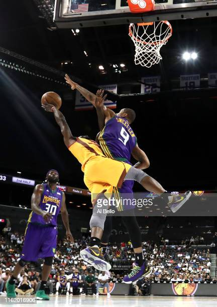 Will Bynum of Bivouac shoots against Rashard Lewis of 3 Headed Monsters during week four of the BIG3 three-on-three basketball league at Barclays...