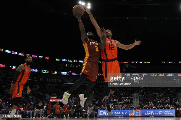 Will Bynum of Bivouac shoots the ball over Dijon Thompson of 3's Company during the BIG3 Playoffs at Smoothie King Center on August 25, 2019 in New...