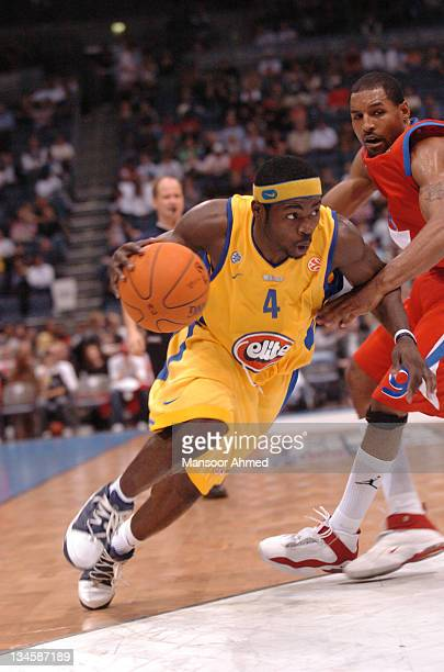 Will Bynum of Macabbi Tel Aviv gets by CSKA Moscow's David Vanterpool during the NBA Europe Live Tour presented by EA Sports on October 10 2006 at...