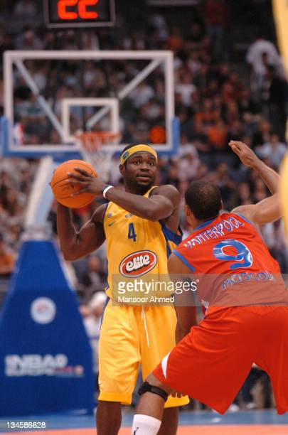 Will Bynum of Macabbi Tel Aviv looks for an open teammate as David Vanterpool of CSKA Moscow plays defence during the NBA Europe Live Tour presented...